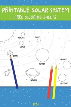 Toddler Learning Activities, Toddler Preschool, Preschool Crafts, Fun Learning, Planet Coloring Pages, Love Coloring Pages, Free Coloring, Solar System For Kids, Solar System Projects