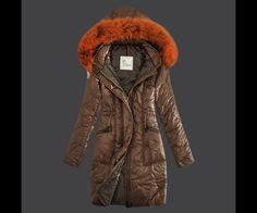 magasin Moncler Long Manteau Hiver Femme Capuche Brun en ligne