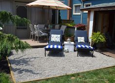 Pea Gravel Patio - After struggling for years with the lawn area right off our deck, we decided to put in a patio.  With a very limited budget we decided on pea…