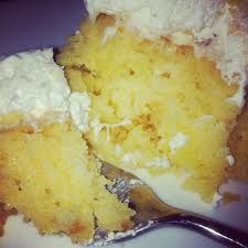 Cake Ingredients 1 Duncan Hines yellow cake mix 20 oz. can unsweetened crushed pineapple (do not drain) 1. Bake cake per box directions. 2. When layers are cool, make holes by piercing with a fork....