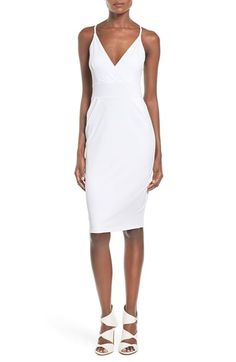 Leith Leith Wrap Front Body-Con Midi Dress available at #Nordstrom