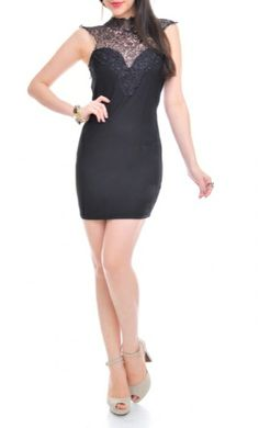 Chinoiserie Crochet Dress - Black