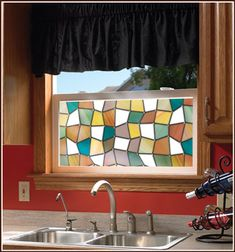 The colorful earth-tones of the Savannah stained glass design creates privacy and adds a beautiful decorative effect and ambiance to any room. Stained Glass Window Film, Stained Glass Lamps, Stained Glass Designs, Glass Wall Art, Glass Door, Curtain Alternatives, Window Privacy, Window Films, Dream House Plans