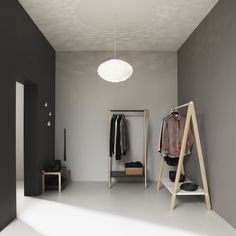 An open wardrobe provides an airy feel to the room. Get inspiration for how to create an open space at Normann Copenhagen