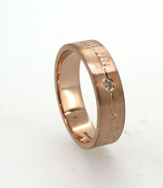 Wedding Ring with Ogham engraving in rose gold by TheIrishJeweller