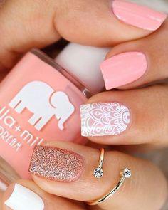 Pretty mix and match pink manicure #naildesign