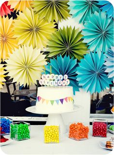 Great background -  Summer Rainbow Birthday Party - Kara's Party Ideas - The Place for All Things Party