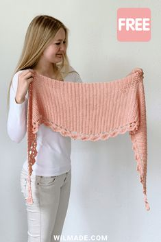 crochet shawl pattern by Wilmade: To The Point Shawl (FREE) To The Point Shawl - a free crochet pattern for beginners on including video.To The Point Shawl - a free crochet pattern for beginners on including video. Shawl Crochet, Crochet Shawls And Wraps, Knitted Shawls, Crochet Scarves, Crochet Clothes, Crochet Stitches, Free Crochet, Knit Crochet, Crochet Vests