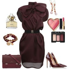 Maroon dress work outfit created by tsteele