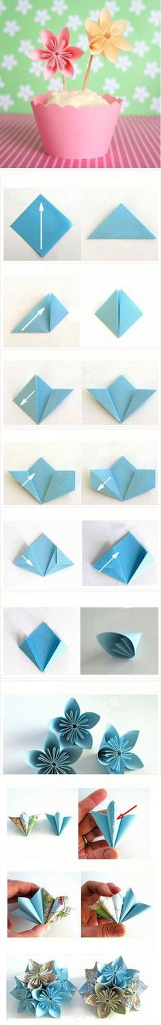 ideas for origami paper flowers inspiring pictures Paper Flower Tutorial, Paper Flowers Diy, Handmade Flowers, Flower Crafts, Flower Diy, Flower Oragami, Flower Ball, Origami Tutorial, Origami Instructions