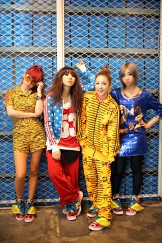 #2NE1 (bom, cl, dara, minzy) wearing jeremy scott's design from head to toe!