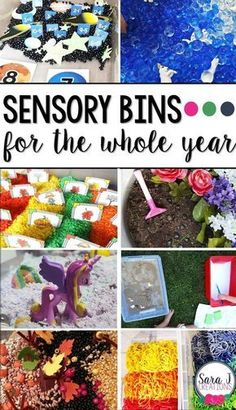 Ideas for using sensory bins throughout the year. Includes bins for fall, winter, spring, summer and bins you can use all year long with toddlers, preschoolers and kindergarteners. (christmas goodies for daycare) Fall Sensory Bin, Toddler Sensory Bins, Sensory Tubs, Sensory Boxes, Sensory Activities, Sensory Play, Infant Activities, Activities For Kids, Motor Activities