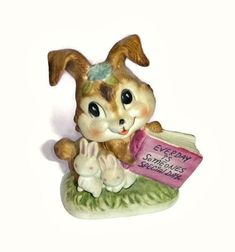 Vintage Bunny Figurine Ceramic Rabbit by PopcornVintageByTann