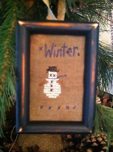Primitive Sampler~ Primitive Winter Snowman Ornament ~Mini Stitchery