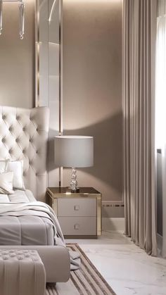 Beautiful modern family master bedroom interior décor with luxury king size bed and a beautiful headboard. Find more luxury interior design videos ideas. Modern Luxury Bedroom, Master Bedroom Interior, Luxury Bedroom Design, Modern Master Bedroom, Bedroom Furniture Design, Home Room Design, Master Bedroom Design, Luxurious Bedrooms, Home Decor Bedroom