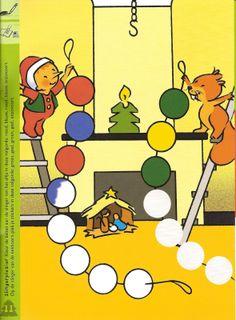 slinger kleuren volgens patroon Christmas Is Coming, Christmas Time, Christmas Activities For Kids, Fun Learning, Winter, Advent, December, Teaching, Children