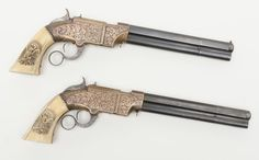 Lock, Stock, and History, A pair of Nimschke style engraved Volcanic pistols...