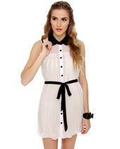 #lovelulus Easy to Pleats Sheer White Dress