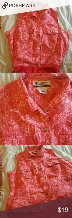Columbia Sportswear Button front Cotton Blouse CORAL IS my Favorite color,can ya tell? Super cute sleeveless top,two front pockets,size is PL Floral pattern Columbia Sportswear  Tops Button Down Shirts