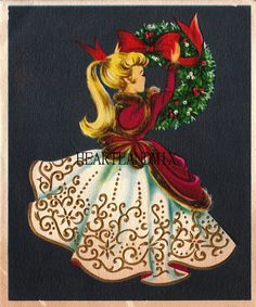 Items similar to Vintage Christmas and New Year Card - Retro Greeting Card - Woman Tying Bow on Wreath - Signed - on Etsy Images Noêl Vintages, Images Vintage, Vintage Christmas Images, Old Fashioned Christmas, Very Merry Christmas, Retro Christmas, Vintage Holiday, Christmas Pictures, Christmas And New Year