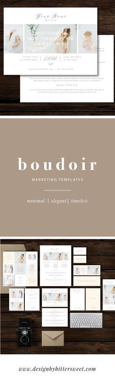 Boudoir photographer marketing templates. Modern elegant mini session marketing, price lists, Instagram designs. Images by @loragradyphotography
