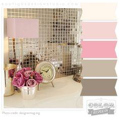 Pink, Cream, Rose, Brown/Warm Grey Color Palette...liking this one a little better for twins' room