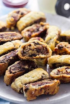 Flaky Cream Cheese Rugelach with your choice of a jam, raisin, nut filling or a rich chocolate filling. Cookie Desserts, Cookie Recipes, Chocolate Rugelach Recipe, Rugelach Cookies, Chocolate Filling, Chocolate Ganache, Chocolate Cream, Jewish Recipes, Sweets
