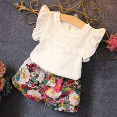 Awesome Girls Summer Clothes Set Children Sleeveless Solid T-shirt + Short Print Pants 2017 Girl Clothing Sets For Kids - $ - Buy it Now!