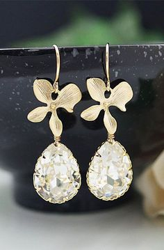 Earrings Orchid flower and Clear White Swarovski
