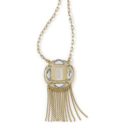 Statement necklace: Let fashion guide the way with this long matte gold pendant necklace.