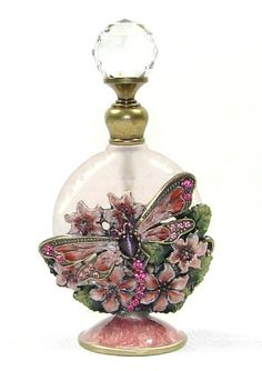 Decorative Pink Frosted Glass Sphere Perfume Bottle with Jeweled Enamel Dragonfly and Floral