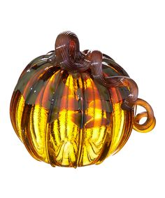 Maple Gold Small Pumpkin Glass Ornament