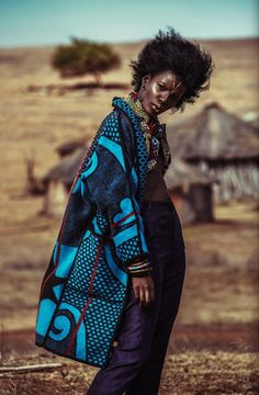 Coat made from a Lesotho cultural blanket.