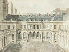 Alexandre Serebriakoff (1907-1994)  Façade de l'hôtel du 19, rue Laffitte  Aquarelle  Londres, Archives Rothschild  Photo : D. R.