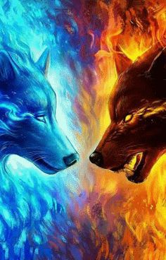 Stella & Kardia on one side Ignis & Helene on the other side Daml - Stella & Ka. Dark Fantasy Art, Fantasy Wolf, Wolf Wallpaper, Animal Wallpaper, Fire And Ice Wallpaper, Iphone Wallpaper, Hipster Wallpaper, Iphone Backgrounds, Wallpaper Wallpapers