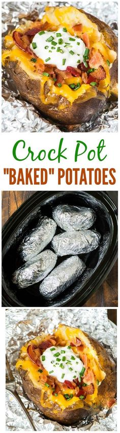 Crock Pot Baked Potatoes Recipe The Easiest Way To Bake A Potato Is In Your Slow Cooker Easy Method With No Clean Up. Extraordinary For Weeknight Dinners Or To Feed A Crowd. Formula At Wellplated Best Slow Cooker, Crock Pot Slow Cooker, Slow Cooker Recipes, Crock Pot Baked Potatoes, Baked Potato Recipes, Meals With Potatoes, Chicken Recipes, Loaded Baked Potatoes, Potato Recipes In Crockpot