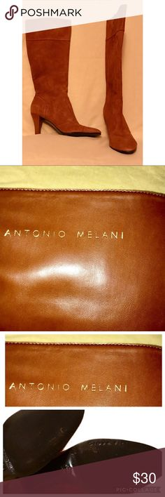Antonio Melani Camel Brown Suede Boots Size 7 1/5 Antonio Melani Camel Brown Suede Boots  D E S C R I P T I O N  Size 7 1/2 Zip closure Calf length  2 1/2 in heel  Worn with love  Don't like my price?? Make an Offer! bundle and save ANTONIO MELANI Shoes Heeled Boots