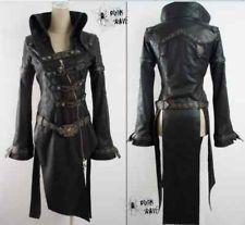 WOMEN MEN fashion punk goth rock black long jacket blazer coat S-XL FREE SHIP