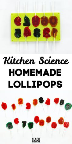 Homemade Lollipops- kitchen science Learning Games For Kids, Creative Activities For Kids, Science For Kids, Teaching Kids, How To Make Lollipops, Homemade Lollipops, Cool Science Experiments, Science Chemistry, Summer Holiday Activities