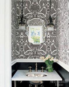 Black and White Powder Room love the wallpaper Bathroom Vanity Decor, Eclectic Bathroom, Bathroom Colors, Bathroom Ideas, Washroom, Ensuite Room, Office Bathroom, Budget Bathroom, Basement Bathroom