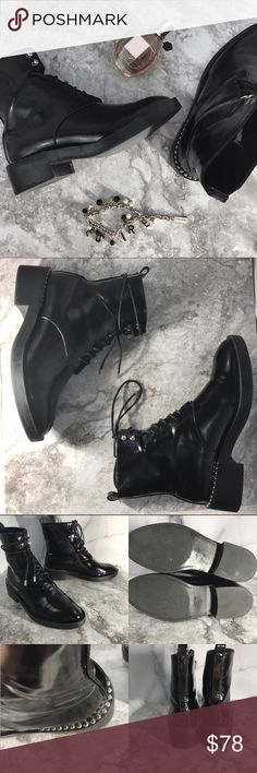 Zara Trafaluc Patent Combat Boots Excellent used condition. Please note they have been worn before and that excellent doesn't equal PERFECT 🤗 No major scuffing. Lovely cut out at the top of the lacing. Metal studs at heels. Metal tipped laces. Please refer to the pics as they are the best descriptors. Comment for measurements! Please ask us any questions you may have! We are fast to respond! 👯Ships same day M-Sat! Zara Shoes Combat & Moto Boots