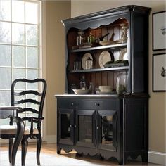 Hooker Furniture Calais Buffet with Hutch in Black and Brown transitional buffets and sideboards