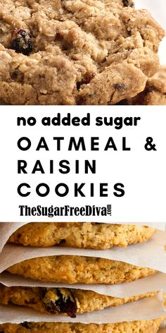 This chewy and soft recipe for No sugar added oatmeal and raisin cookies is so delicious! Sugar Free Cookie Recipes, No Sugar Desserts, Sugar Free Baking, Sugar Free Cookies, Healthy Cookie Recipes, Chewy Sugar Cookie Recipe, Chip Cookies, Oatmeal Cookies No Sugar, Oatmeal Dessert