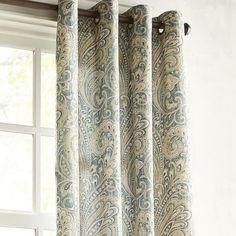 "Seasons Paisley Teal 96"" Grommet Curtain"