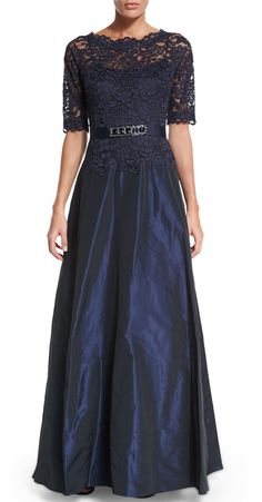 Rickie Freeman for Teri Jon Half-Sleeve Lace-Bodice Taffeta Gown. Navy blue. This dress is gorgeous. Makes me wanna go to high school again so I could wear this to prom. $880.