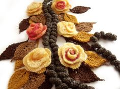 Scarf lariat with flowers
