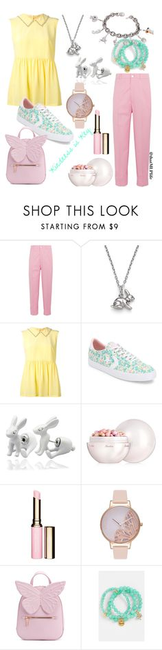 """""""Kindness is Key: A Fluttershy Set"""" by thatmlplife ❤ liked on Polyvore featuring Gucci, Harry Rocks, MaxMara, Converse, Q&Q, Guerlain, Clarins, Olivia Burton, Sophia Webster and Sequin"""