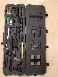 Storm 3300 with Custom Foam Insert for (2) AR's, a Glock, a Ruger, (10) magazines, ammo and much more.  On its way to go Boar hunting!  Gun Cases