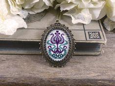 Purple flower cross stitch necklace Art nouveau flower cross
