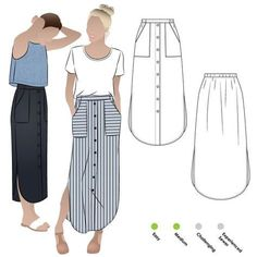 Indigo Maxi Skirt Sewing Pattern By Style Arc - Maxi skirt with elastic waist, faux button opening and patch pockets. Indigo Maxi Skirt Sewing Pattern By Style Arc - Maxi skirt with elastic waist, faux button opening and patch pockets. Skirt Patterns Sewing, Sewing Patterns Free, Skirt Sewing, Pattern Sewing, Pattern Skirt, Clothing Patterns, Maxi Dress Patterns, Maxi Dress Sewing Pattern, Womens Skirt Pattern